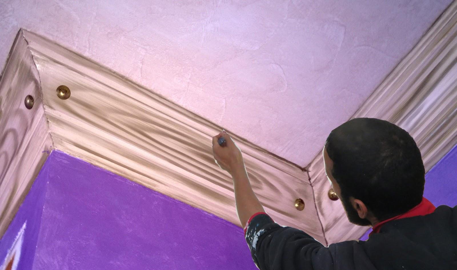 طريقة عمل ديكور شبيه بالخشب في كرانيش الجبس الحلقة 4