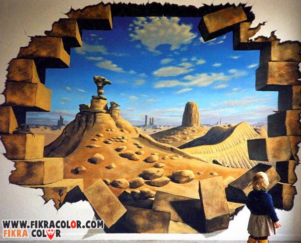 ديكورات دهانات رسم ثلاثي الابعاد على الجدران