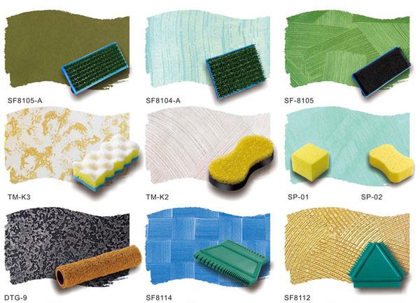 أدوات سحب وطبع على الدهانات  وتزيين الجدران  وطرق استعمالها