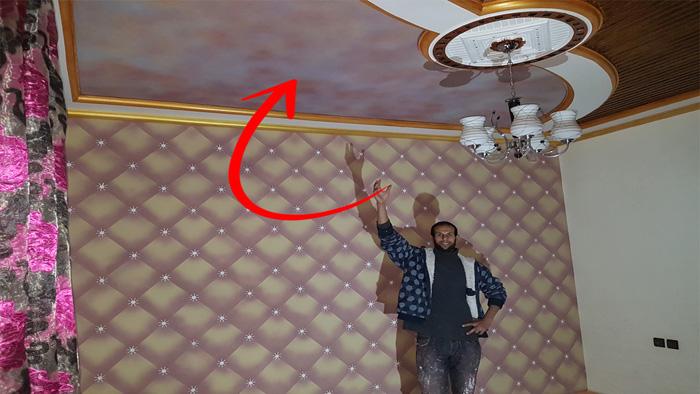 اسهل طريقة لرسم الغمام على الاسقف بثلاثة الوان رائع واقتصادي