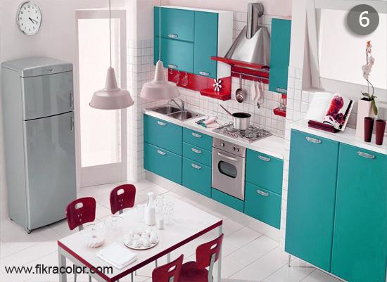 ديكورات مطابخ باللون الازرق الفاتح. اختيار فكرة في التصميم المنزلي