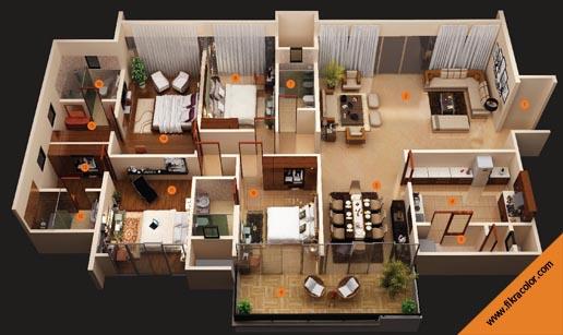 تصاميم منازل و شقق مساحات كبيرة ومتوسطة fikra color