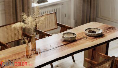 ديكورات طاولات خشبية