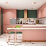 مطبخ باللون الوردي